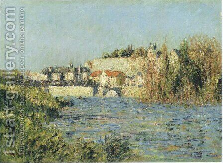 Village in sun on the river by Gustave Loiseau - Reproduction Oil Painting