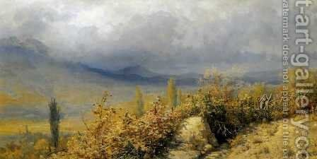 Autumn landscape in Crimea by Grigori Grigorievich Mjasoedov - Reproduction Oil Painting
