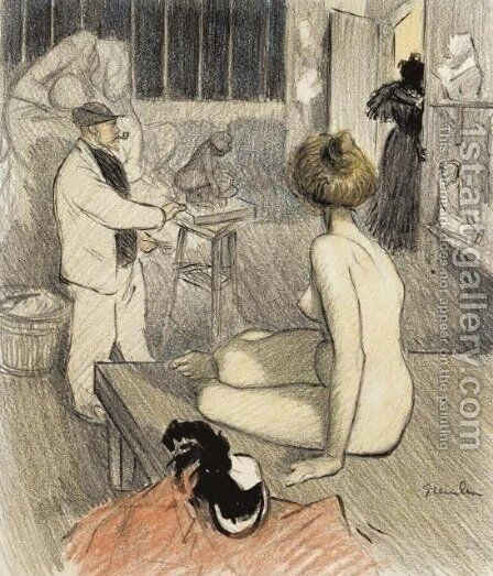 Coup Double - Original drawing by Theophile Alexandre Steinlen - Reproduction Oil Painting