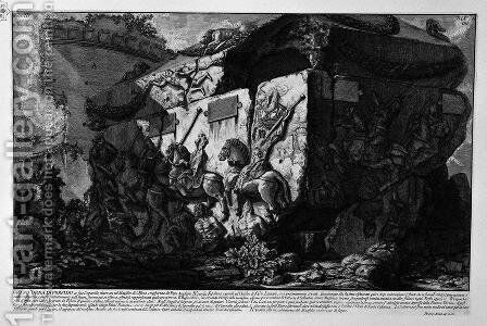 The Roman antiquities, t. 3, Plate XIX. Grand porphyry urn with a lid, found in the Mausoleum of S. ta Elena and currently in the Cloister of St. Thur. Lateran. by Giovanni Battista Piranesi - Reproduction Oil Painting