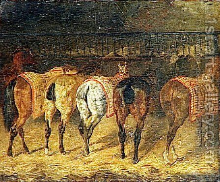Five horses seen from behind with croupes in a stable by Theodore Gericault - Reproduction Oil Painting