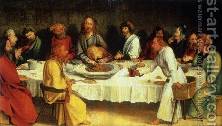 Last Supper (Coburg Panel) by Matthias Grunewald (Mathis Gothardt) - Reproduction Oil Painting