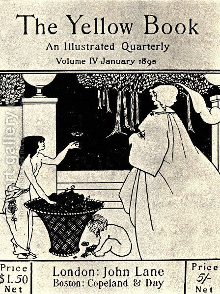 Design (unused) for the cover of Volume IV of 'The Yellow Book' by Aubrey Vincent Beardsley - Reproduction Oil Painting
