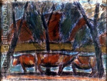 Resting cows 2 by Istvan Nagy - Reproduction Oil Painting
