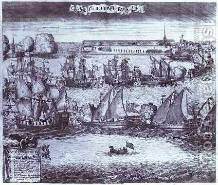 The Bringing of 4 Swedish Frigates in St. Petersburg after the Victory in the Battle of Grengam September 8 1720 by Alexei Fyodorovich Zubov - Reproduction Oil Painting