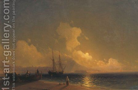 Sea at night by Ivan Konstantinovich Aivazovsky - Reproduction Oil Painting