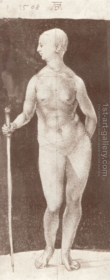Standing female nude with baton in the right by Albrecht Durer - Reproduction Oil Painting