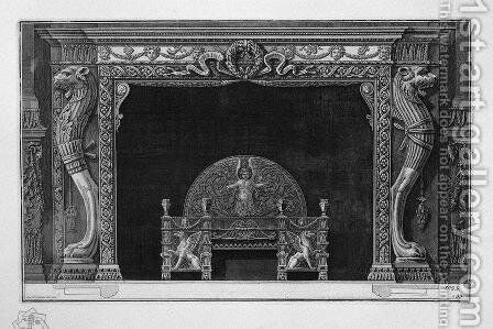 Fireplace two sides of the well-head lion paws of a lion in a rich wing by Giovanni Battista Piranesi - Reproduction Oil Painting