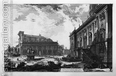 View of the Piazza del Campidoglio by Giovanni Battista Piranesi - Reproduction Oil Painting