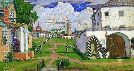 Square at the exit of the city by Boris Kustodiev - Reproduction Oil Painting