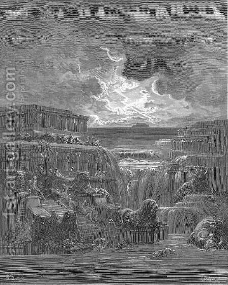 All dwellings else Flood overwhelmed, and them, with all their pomp Deep under water rolled by Gustave Dore - Reproduction Oil Painting