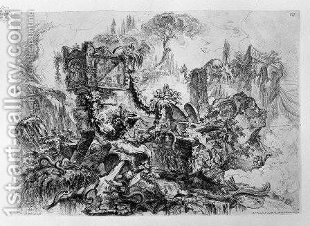 Caprice decoration, a group of ruins inhabited by snakes, surmounted by an ancient tomb, a delicate etching pine in the fund at the bottom right palette by Giovanni Battista Piranesi - Reproduction Oil Painting