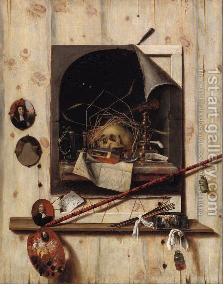 Trompe l'oeil with Studio Wall and Vanitas Still Life by Cornelis Norbertus Gysbrechts - Reproduction Oil Painting