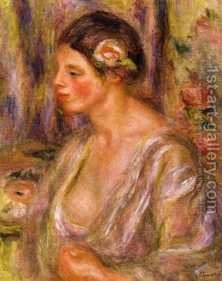 Madeline wearing a Rose by Pierre Auguste Renoir - Reproduction Oil Painting