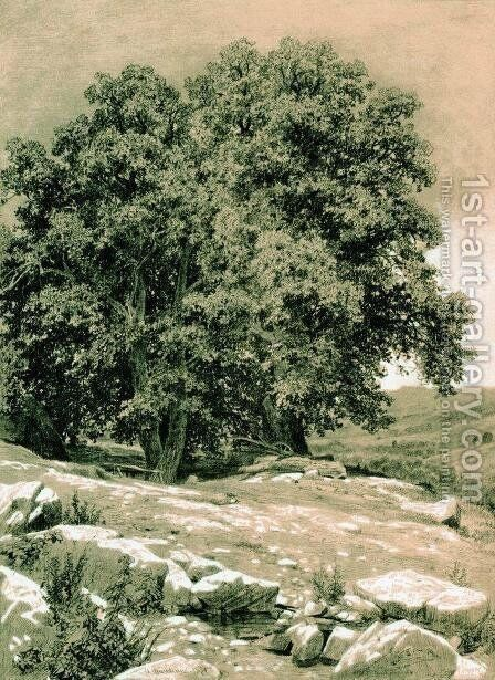 Crimean Nut-Tree by Ivan Shishkin - Reproduction Oil Painting