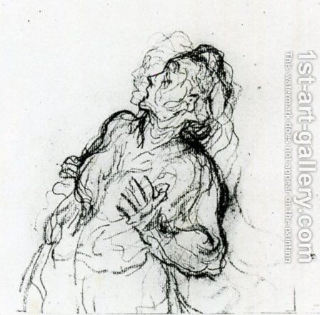 Study of a Terrified Woman by Honoré Daumier - Reproduction Oil Painting