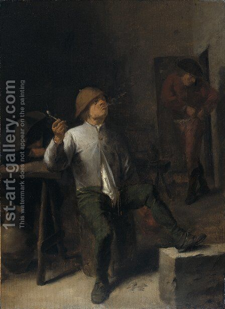 The Smoker by Adriaen Brouwer - Reproduction Oil Painting