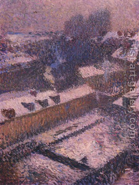 The Roofs of Paris in Snow by Henri Martin - Reproduction Oil Painting