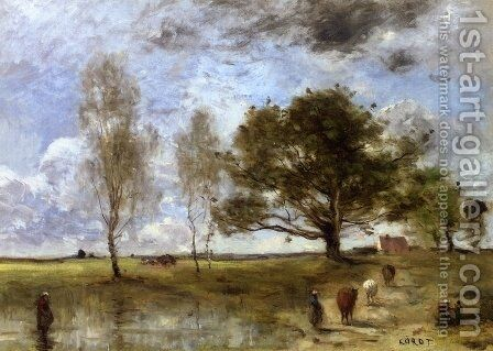 The Cow Path by Jean-Baptiste-Camille Corot - Reproduction Oil Painting