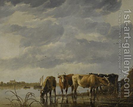Cattle Watering by an Estuary by Aelbert Cuyp - Reproduction Oil Painting