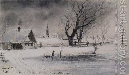 Thaw by Alexei Kondratyevich Savrasov - Reproduction Oil Painting