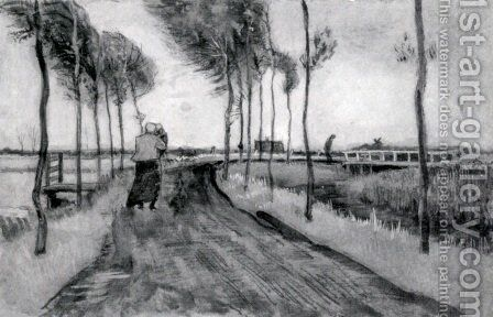 Landscape with Woman Walking by Vincent Van Gogh - Reproduction Oil Painting