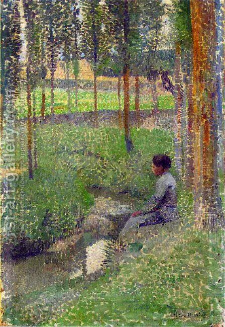 Woman at Edge of Forest by Henri Martin - Reproduction Oil Painting