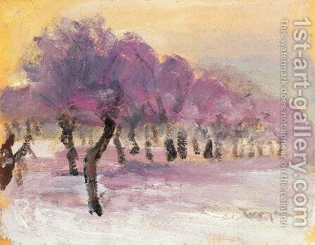 Winter Landscape with Violet Lights by Janos Tornyai - Reproduction Oil Painting