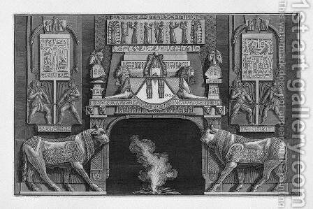 Fireplace in egyptian-style, on each side of a sacred cow in profile with her head toward the fire by Giovanni Battista Piranesi - Reproduction Oil Painting