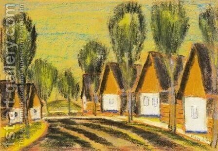 Village-row of houses by Istvan Nagy - Reproduction Oil Painting