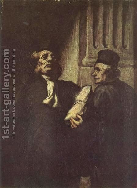 Two Lawyers 2 by Honoré Daumier - Reproduction Oil Painting