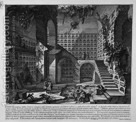 The Roman antiquities, t. 3, Plate XXXIX. Interior view of the room adjacent to the burial chambers by Giovanni Battista Piranesi - Reproduction Oil Painting