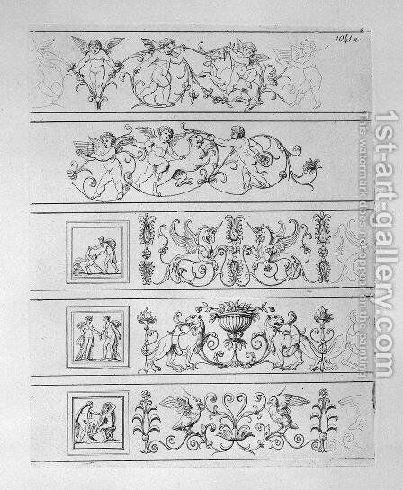 Five friezes by Giovanni Battista Piranesi - Reproduction Oil Painting