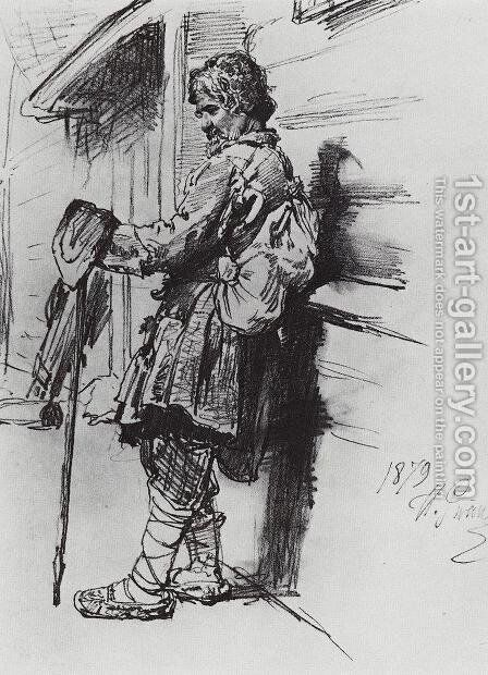 A beggar with a bag by Ilya Efimovich Efimovich Repin - Reproduction Oil Painting