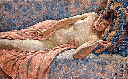Etude of Female Nude by Theo van Rysselberghe - Reproduction Oil Painting