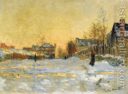 Snow Effect, The Street in Argentuil by Claude Oscar Monet - Reproduction Oil Painting