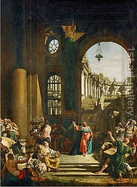 Jesus Cleansing the Temple by Bernardo Bellotto (Canaletto) - Reproduction Oil Painting