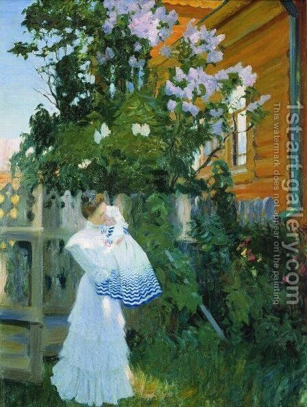 Lilacs 2 by Boris Kustodiev - Reproduction Oil Painting