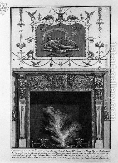 Fireplace in the frieze, sacrificing two fauns, including winged genii; high on the wall, the figure of a woman lying in a shell by Giovanni Battista Piranesi - Reproduction Oil Painting