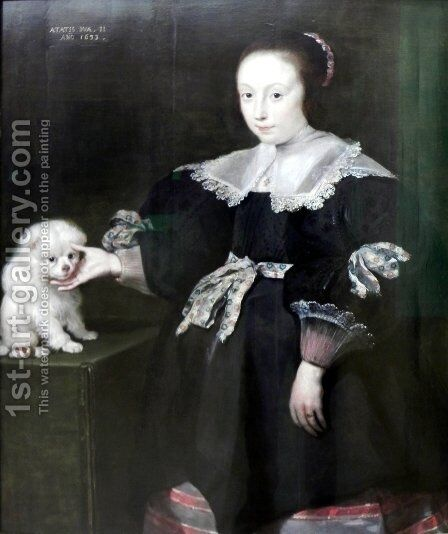 Portrait of an eleven year old girl with a dog, dressed in Spanish fashion by Cornelis De Vos - Reproduction Oil Painting