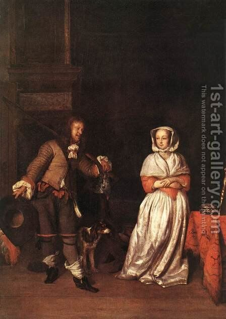 The Huntsman and the Lady by Gabriel Metsu - Reproduction Oil Painting