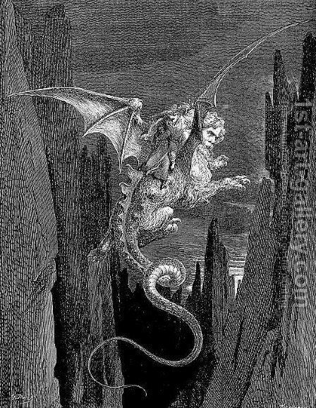 The Descent on The Monster by Gustave Dore - Reproduction Oil Painting