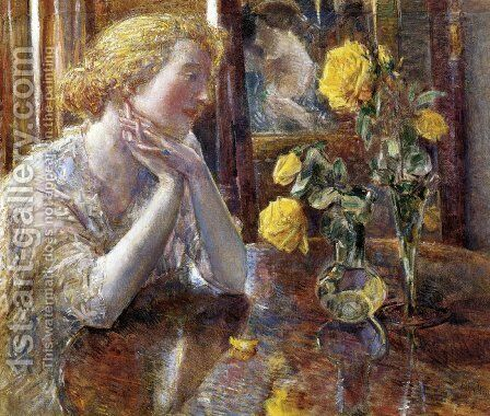 Marechal Niel Roses by Frederick Childe Hassam - Reproduction Oil Painting