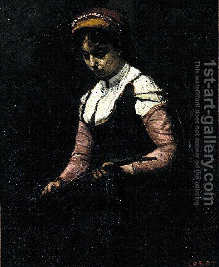 Girl with Mandolin by Jean-Baptiste-Camille Corot - Reproduction Oil Painting