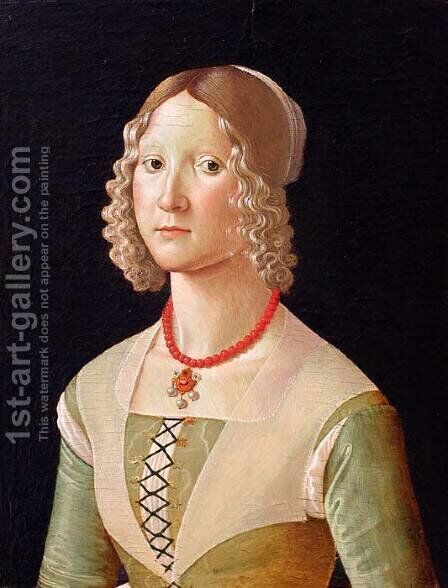 Portrait of Giovane Donna by Domenico Ghirlandaio - Reproduction Oil Painting