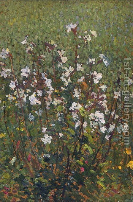 White Flowers in the Field by Henri Martin - Reproduction Oil Painting