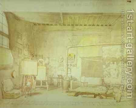 Artist's Workshop in Rome. by Alexander Ivanov - Reproduction Oil Painting