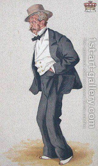 Caricature of Thomas Egerton, 2nd Earl of Wilton by James Jacques Joseph Tissot - Reproduction Oil Painting