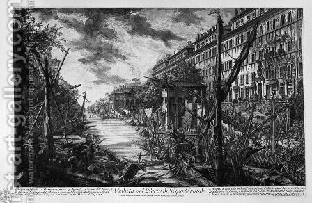 View of the Port of Ripetta by Giovanni Battista Piranesi - Reproduction Oil Painting