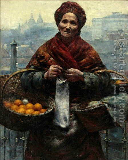 Jewish woman selling oranges by Aleksander Gierymski - Reproduction Oil Painting